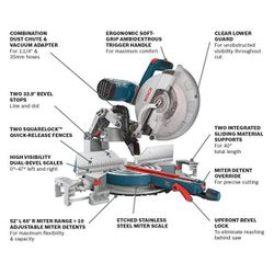 15 Amp 12 in. Corded Dual-Bevel Sliding Glide Miter Saw with 60 Tooth Saw Blade Thumbnail