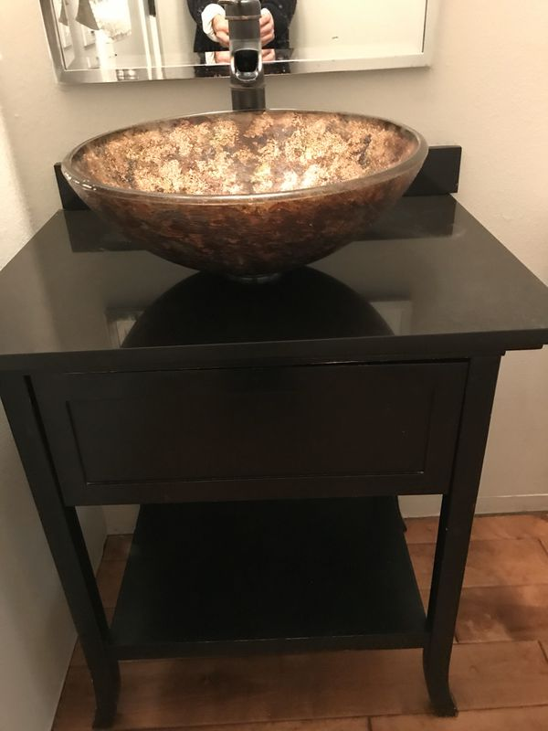 Glass/Wood Sink Cabinet for Sale in Everett, WA - OfferUp