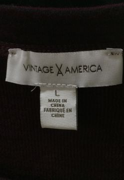 Women's Large Vintage America Burgundy w/ Black Stripes Long-Sleeve Shirt Thumbnail
