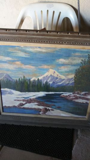 Beautiful winter painting and oil couch size very nice painting for Sale in Las Vegas, NV