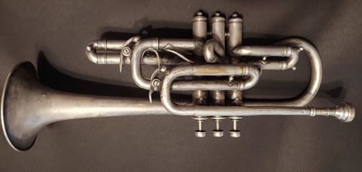 Very old classic 1910 York Trumpet with some engravings. Thumbnail