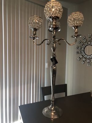 Nicole Miller Home Standing Candle Stick Chandler Silver Mirror Crystal Rhinestone Decoration For In
