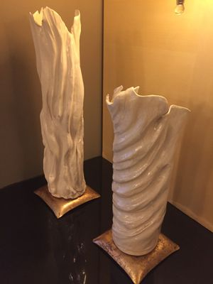 Brenda Townsend (Artist); Pair Ceramic Vessels & Stands for Sale in Bethesda, MD