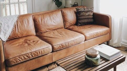West Elm Hamilton Leather Sofa 3 Seater