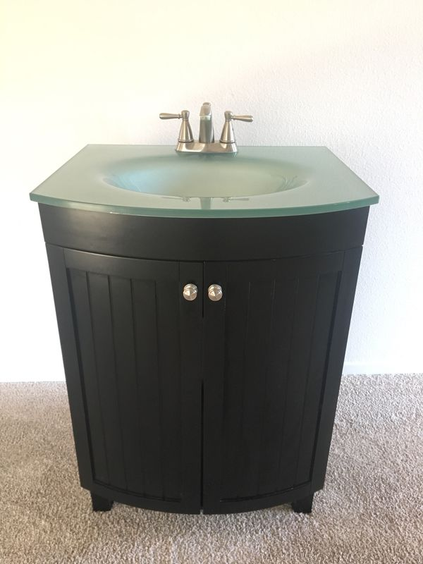 Glass Counter Top Bathroom Sink Fixture For Sale In CA US OfferUp - Bathroom sink set up