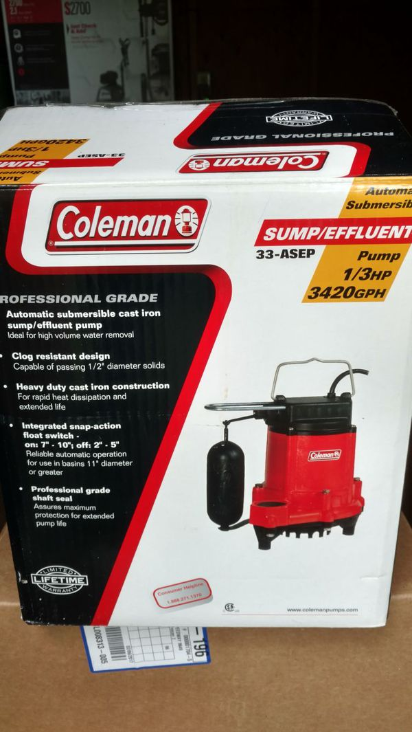 Reduced Price Again Coleman 1 3 Hp Sump Pump For Sale In