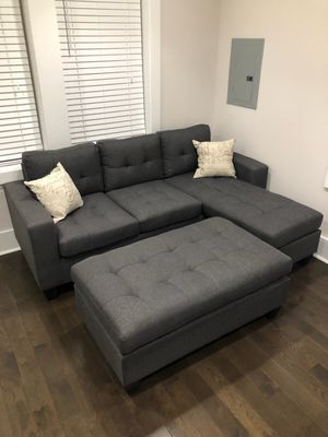 Brand New Grey Linen Sectional Sofa Couch + Oversized Ottoman for Sale in Arlington, VA