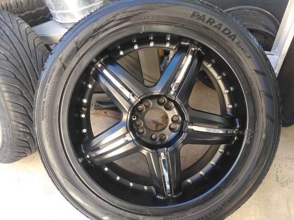 Set of four dolce rims wheels n 255 45 20 tires good condition 5 lugs  universal,, 5x4 5 n 5x4 3/4 fits Chevy s10 blazer Jimmy Toyota Nissan Honda  etc