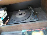Stereo liquid speakers w/record player and 8 track player /radio