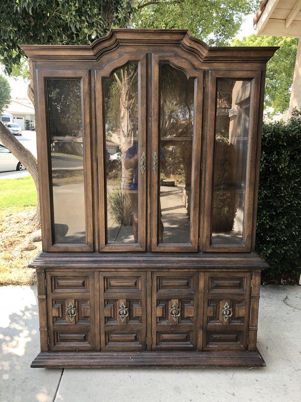 Beautiful antique furniture wooden hutch glass shelves and drawers ( Furniture) in Murrieta, CA - OfferUp - Beautiful Antique Furniture Wooden Hutch Glass Shelves And Drawers