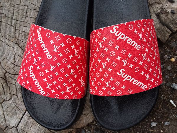 78ece9d44e18 Leather Custom Supreme LV Slides for Sale in New York