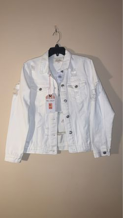 White Distressed Denim Jacket Thumbnail