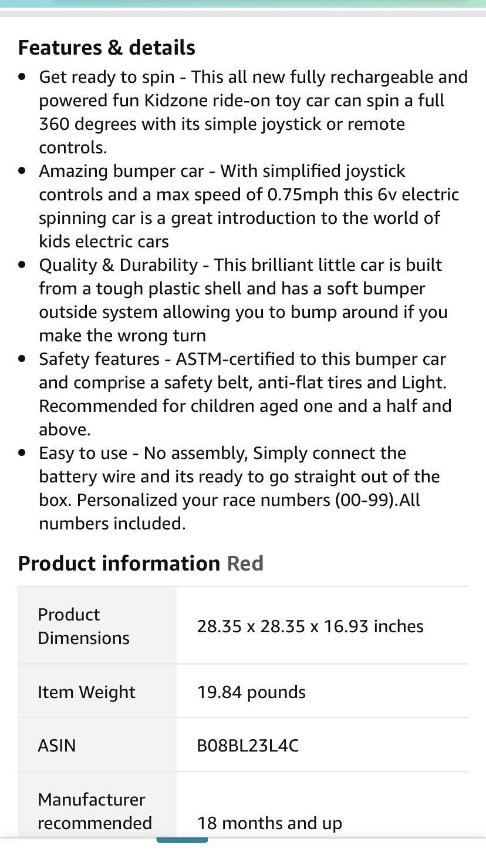 Kidzone Bumper Car w/Remote Control