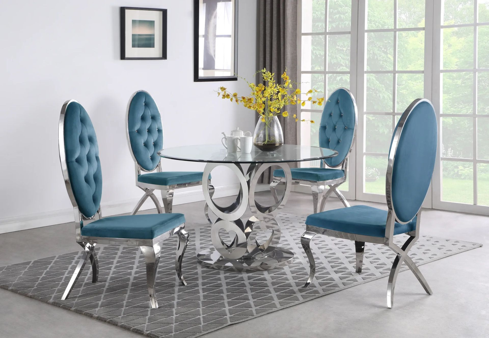 5 PCS Victorine II Collection Dining set-available in 3 colors-available also with gold frame $1,879.00 Hot Buy! Free Delivery 🚚
