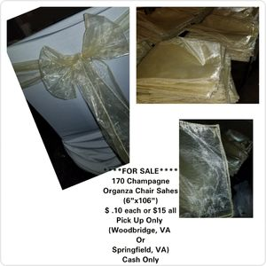Champagne Organza Chair Sash for Sale in Woodbridge, VA