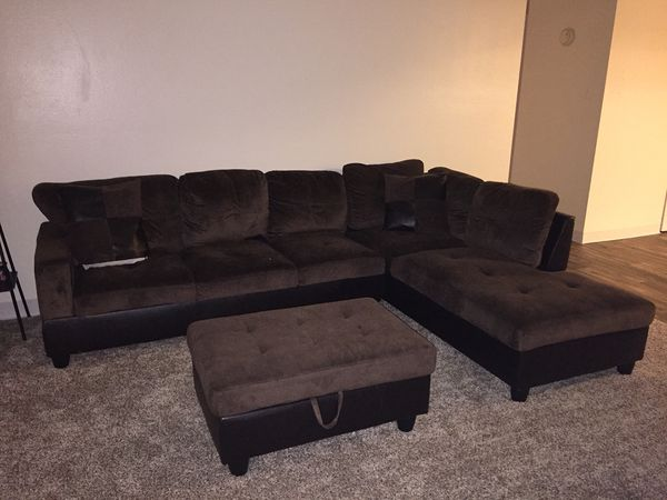 Dark brown sectional couch 6 seats and rectangular ottoman It is in great  condition! No holes, tears, rips, stains, and is in a non smoking home, for  ...