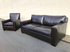 Crate and Barrel Axis II Leather Sofa and Matching Recliner for Sale in Seattle, WA