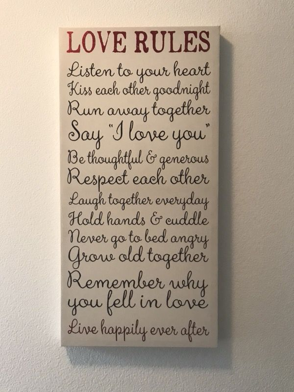 """Wall art """"love rules"""" canvas sign for Sale in Renton, WA - OfferUp"""