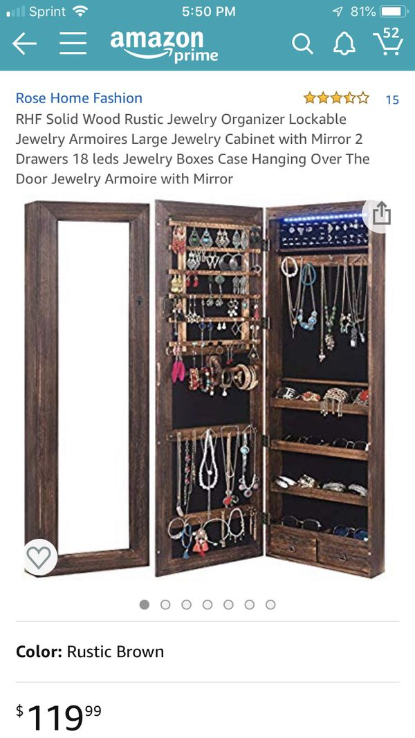 As Is Rhf Solid Wood Rustic Jewelry Organizer Lockable Jewelry Armoires Large Jewelry Cabinet With Mirror 2 Drawers 18 Leds Jewelry Boxes Case Hang For Sale In Indianapolis In Offerup