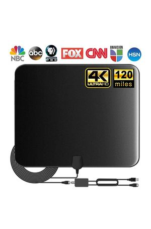 Photo (W223) TV Antenna, Indoor Amplified Digital HDTV Antenna, 80-120 Miles Range Signal Booster for 4K 1080p Fire TV Stick Local Channels and All TV's