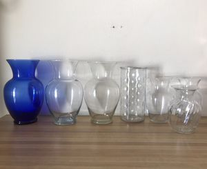Photo 7 glass flower vases clear and blue vase large medium small