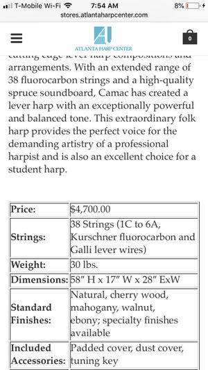 Camac Excalibur Harp for Sale in Menifee, CA - OfferUp