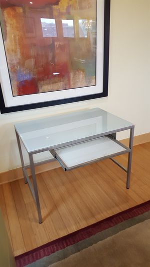 CB2 Computer desk-glass & metal for Sale in Pittsburgh, PA