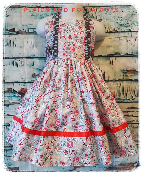 d3857d3cc902 Christmas dress girls, size 5 candy cane dress, halter dress, holiday dress