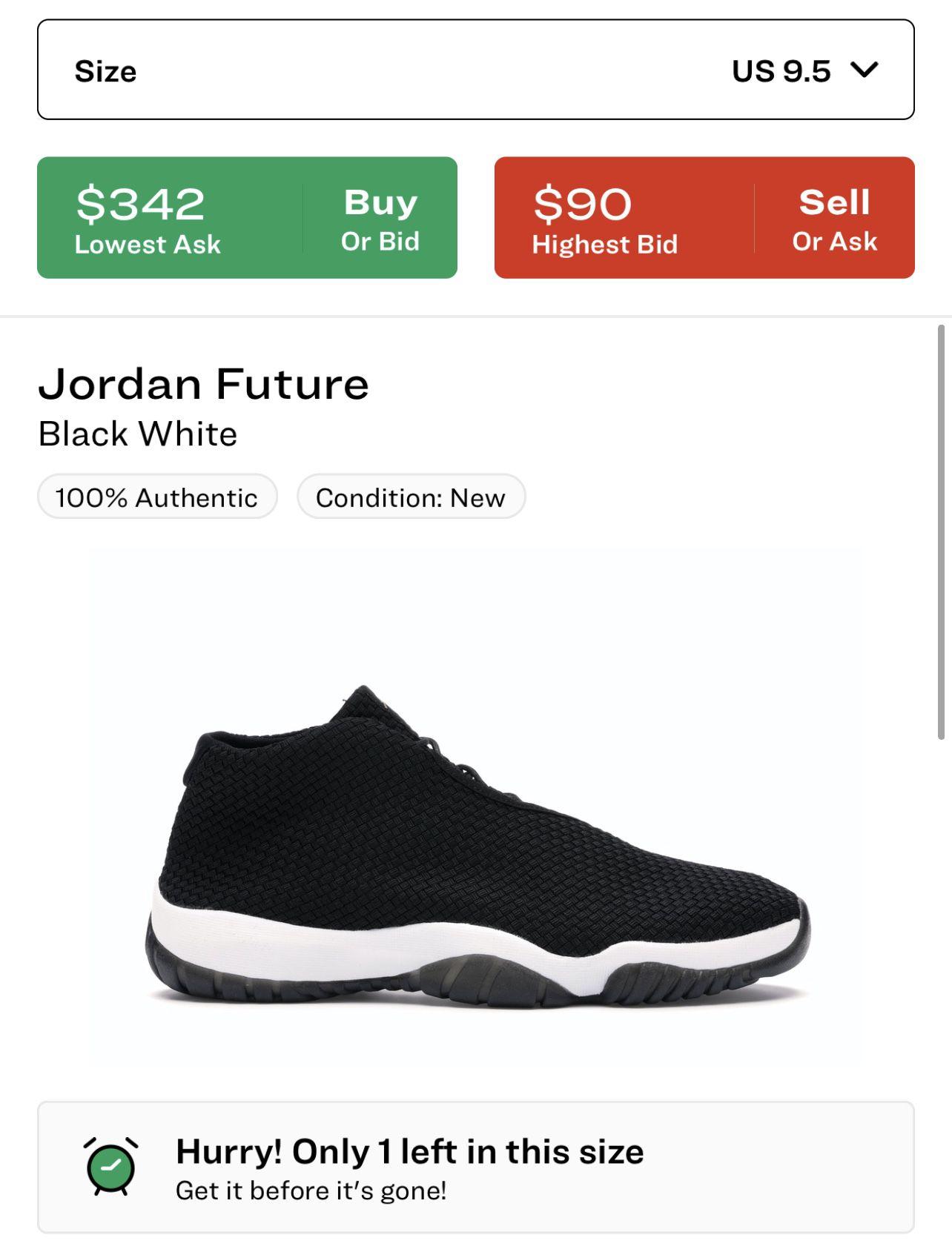 Jordan Future White/Black Size 9.5