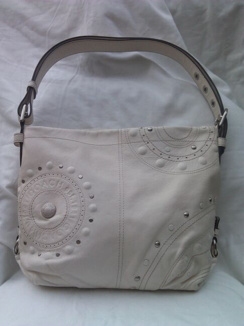11115850cd Authentic Coach white studded leather duffle for Sale in Buckeye
