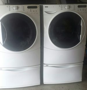 Photo Washer and Gas Dryer Kenmore Elite Big Capacity Front Load Come With Pedestal Working Excelent
