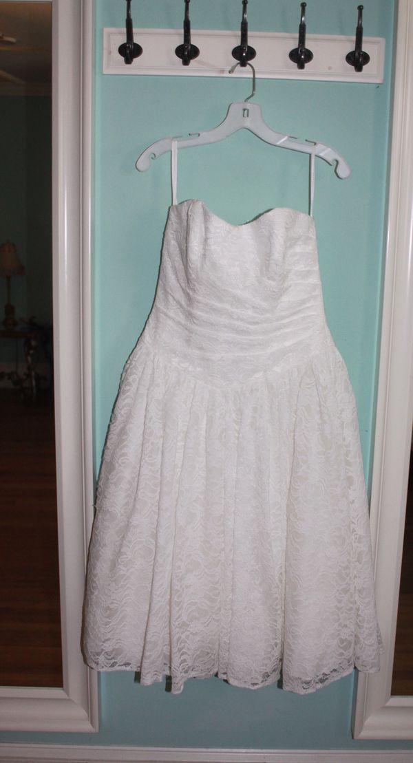 Tea Length Drop Waist Lace Wedding Dress DAVID\'S BRIDAL COLLECTION ...