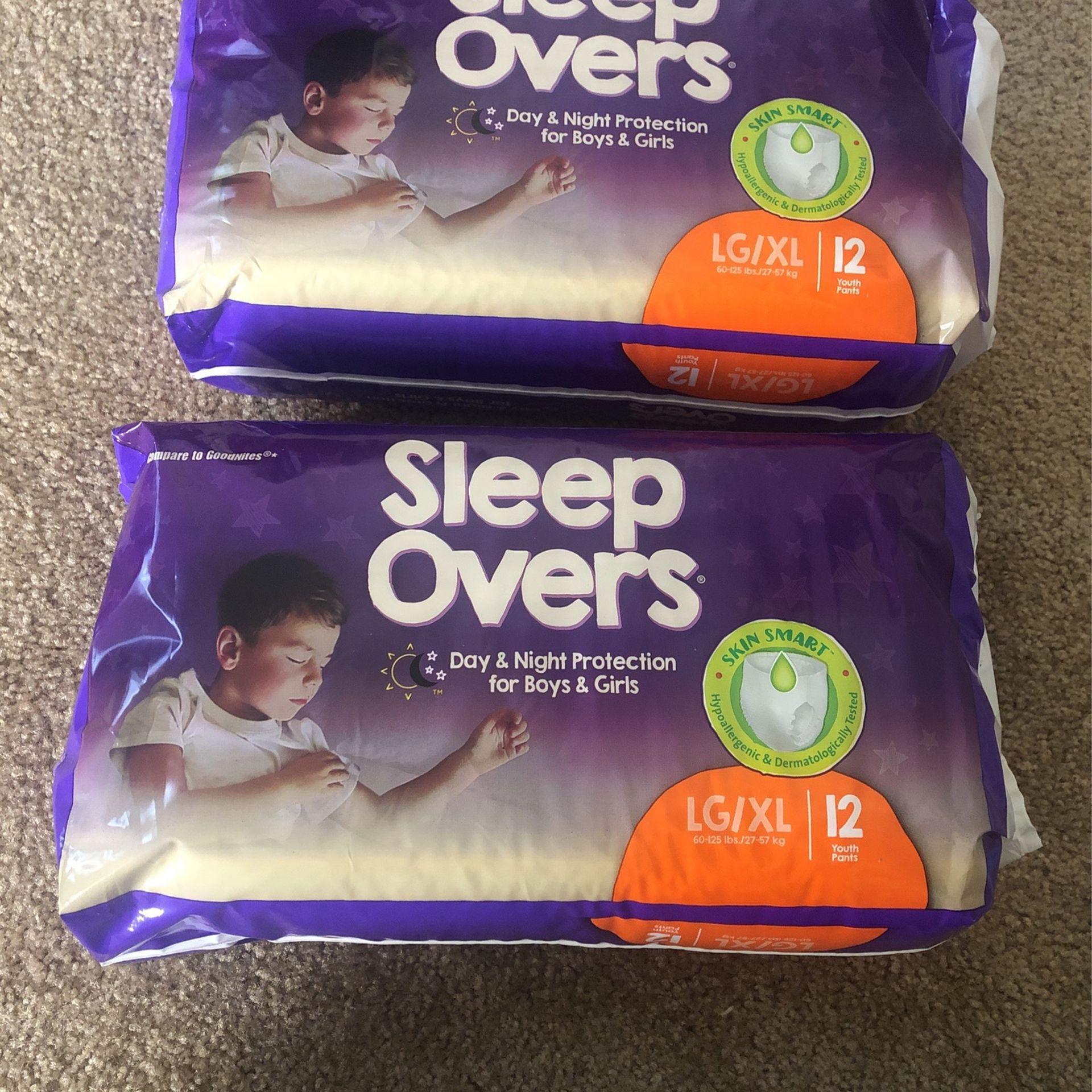 Sleepovers L-XL 60-125 Lbs Both For $15