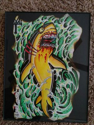Shark art, tattoo style water color, framed 11x9 for Sale in Tampa, FL