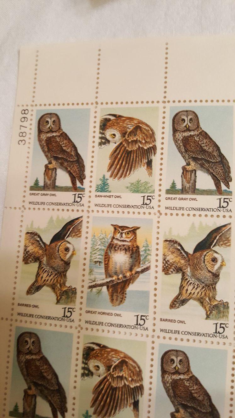 1978 U.S. 'Wildlife Conservation' 15 cent Stamps - Sheet of 50 - Owls 4 designs