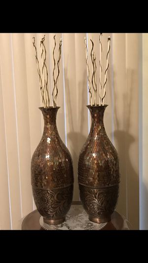 "Set of 2 brown mosaic vases 24"" tall message me if you interested pick up in Gaithersburg md 20877 for Sale in Gaithersburg, MD"