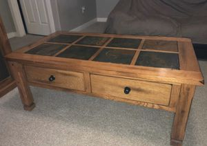 Photo Coffee table/Entertainment Stand with Electric fireplace