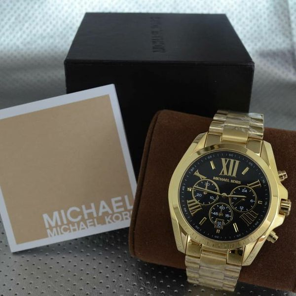 ec3b2a4ca New Michael Kors MK5739 Women's Bradshaw Gold Black Dial Chronograph 43mm  Watch