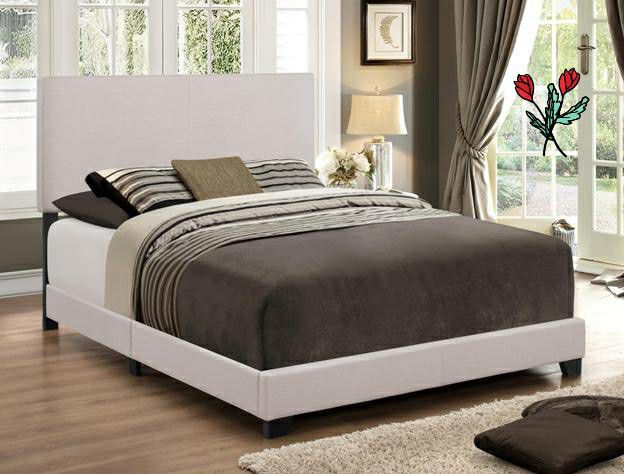 #NEW Erin Khaki Upholstered Queen Bed(King $169) FREE DELİVERY