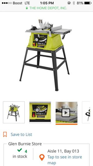 """Ryobi 10"""" table saw for Sale in Severn, MD"""