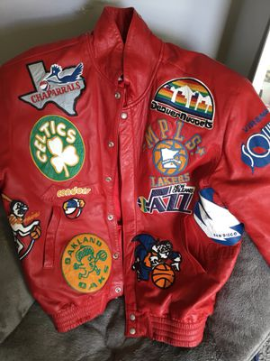 NBA THROWBACK PATCH LEATHER JACKET SIZE LARGE 🚨🚨🚨🚨🔥🔥🔥🔥 for Sale in Washington, DC