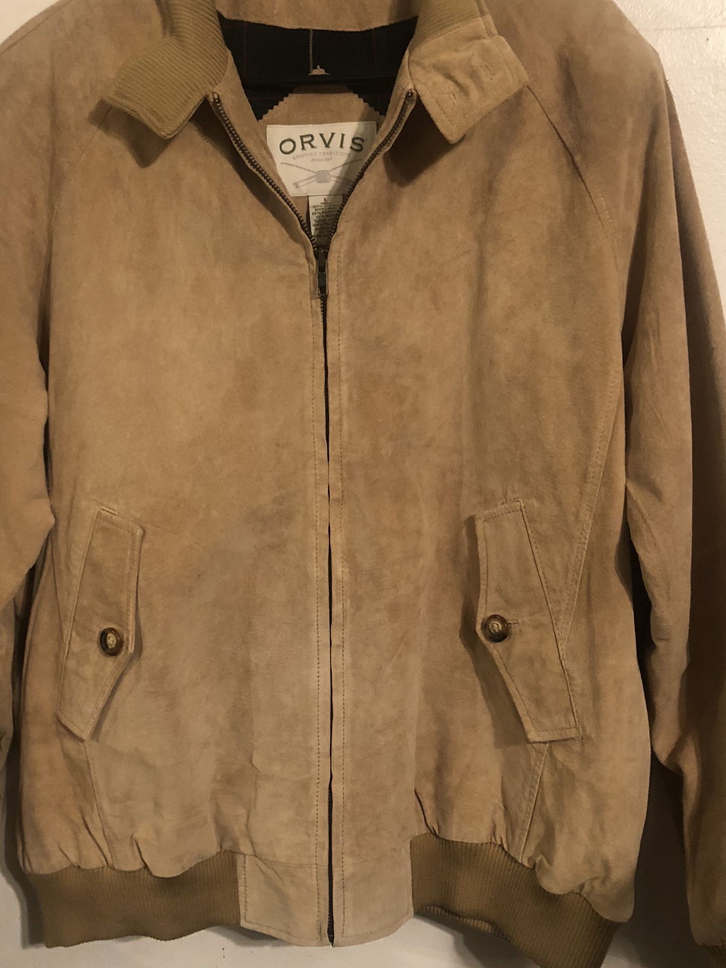 Orvis Brown Leather/Suede Men's Jacket Size L