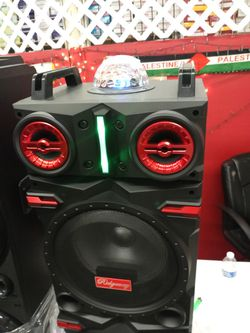 Brand New Double 10s Speaker Has Bluetooth Fm Am Great Sound Base Very Loud And Only For 220 Brand New Speaker In The Box  Thumbnail