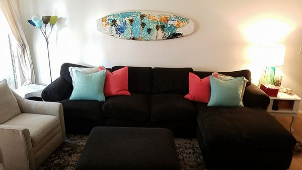 Black Sectional Sofa W Ottoman Furniture In San Clemente Ca