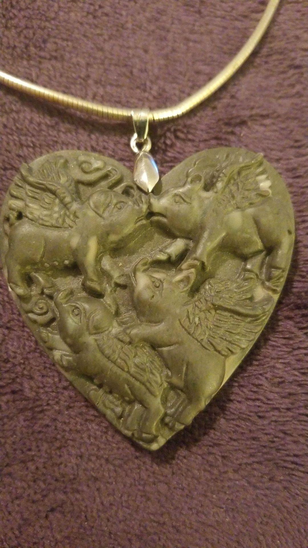 Huge stone flying pig pendant