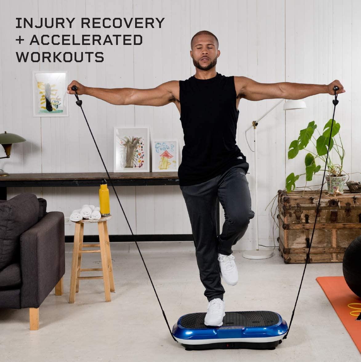 LifePro Vibration Plate Exercise Machine Whole Body Workout Vibration Fitness Platform w/Loop Bands - Home Training Equipment - Remote, Balance Straps