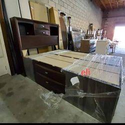 》 Emily Dark Cherry Storage Platform Bedroom Set Dresser Mirror Nightstand Bed Frame Queen  Thumbnail