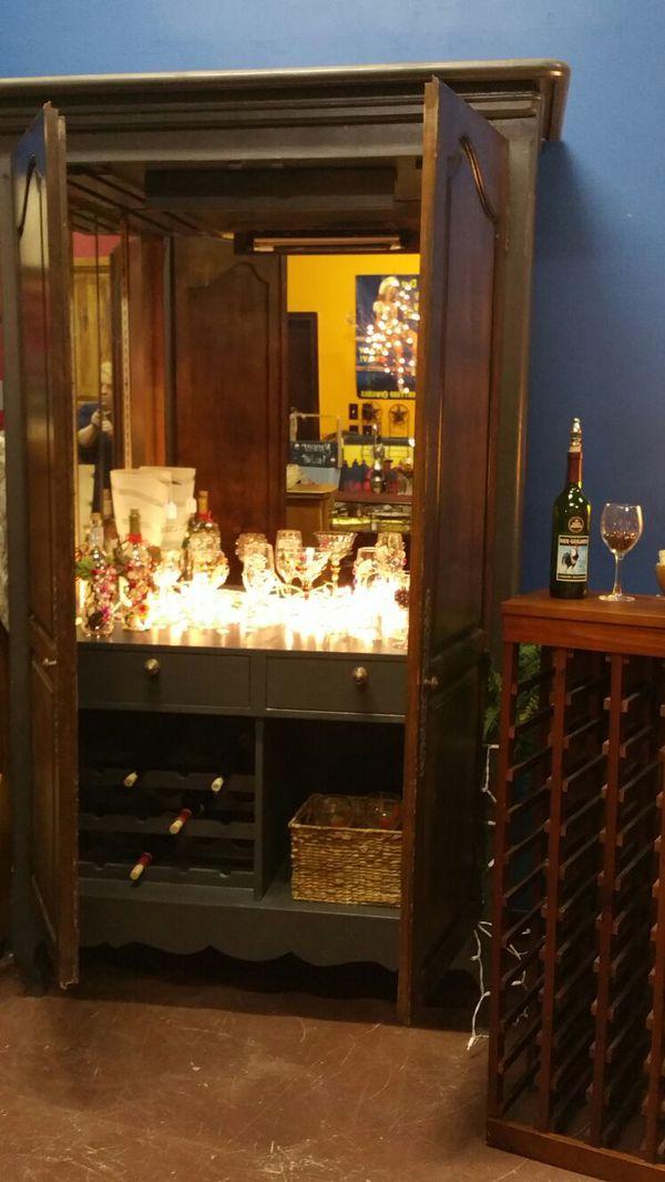 Wine Bar Armoire Liquor Cabinet