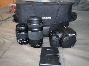 Canon EOS Rebel T5 DSLR Camera w/2 Lenses (18-55mm & 75-300mm), Original Operating Manual & Discs, Editing Discs, Battery Pack and Bag for Sale in Fort Washington, MD