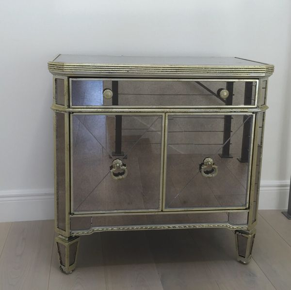 Z Gallerie Borghese Mirrored Nightstand Side Chest 190